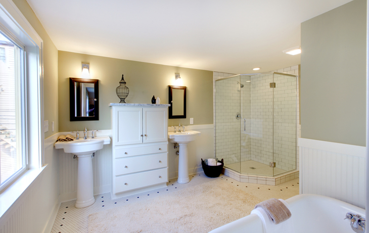 Bathroom Remodel Double Sink bathroom with two pedestal sinks | dance-drumming